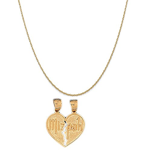 14k Yellow Gold Mizpah Pendant on a 14K Yellow Gold Rope Chain Necklace, 18
