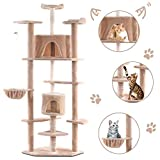 Tangkula Cat Tree, Kitten Condo Multi-Level Activity Tower Pet Furniture with Scratch Post, Pet Play House, Kitty Activity Tree (80) (Beige) Larger Image