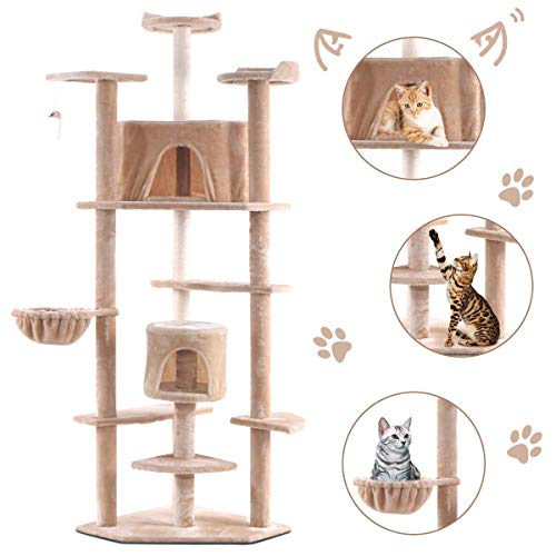 Tangkula Cat Tree, Kitten Condo Multi-Level Activity Tower Pet Furniture with Scratch Post, Pet Play House, Kitty Activity Tree (80