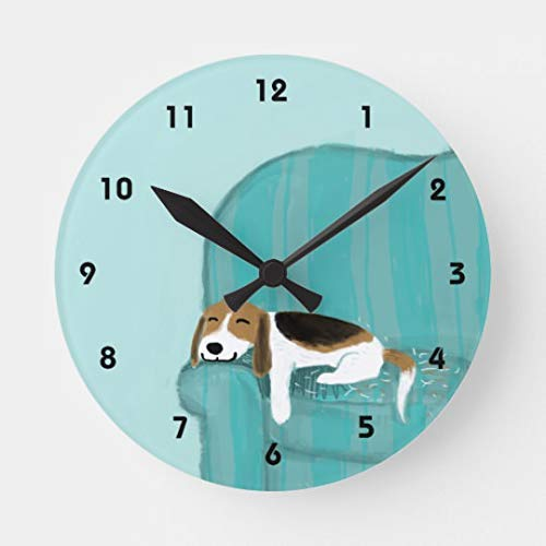 Enidgunter Happy Couch Beagle Cute Dog Design Silent Wall Clock for Women Christms Clock Gift Battery Operated for Living Room Kitchen Bedroom -