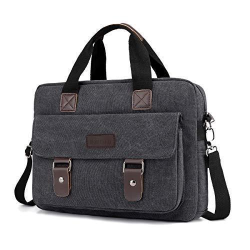 Canvas Messenger Bag, Vintage Shoulder Satchel Top Handle for Laptop Computer Briefcases Case 13-13.5 inch on Travel, Business for Men Mailbag (Black) -