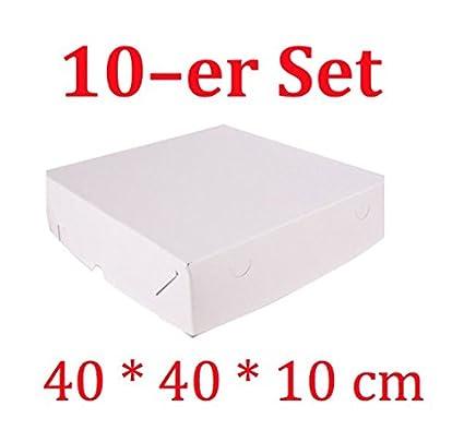 Decoración para Tartas de 10 Cajas de cartón cuadradas para Tartas con tapadera (40 x