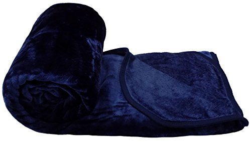 PLUSH FAUX FUR FLEECE NAVY BLUE 200X240CM EXTRA LARGE THICK THROW BLANKET (Extra Thick Throw Blanket compare prices)
