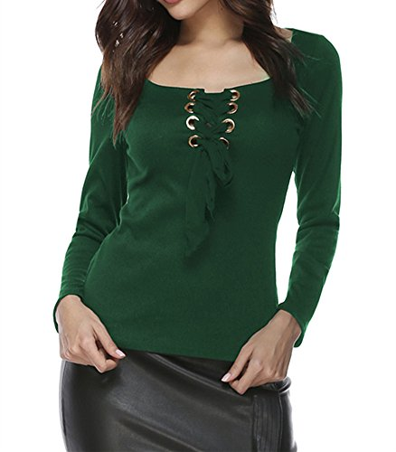 Xuan2Xuan3 Womens Long Sleeve Lace Tops Knitted Square Neck T Shirt Blouses Sweatshirt