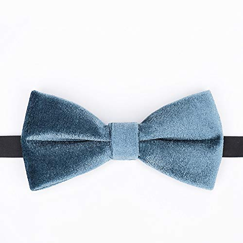 JYEMDV Textured Velvet Gray-Blue Handmade Necktie Casual Wedding Bow Neckcloth Fashion Alloy Plated Buckle Neckwear