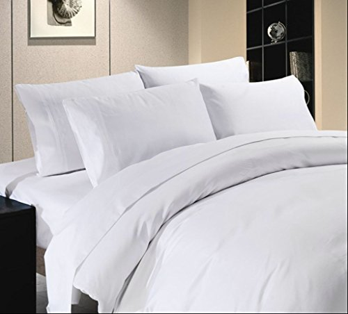 Vedanta Home Collection Hotel Quality 400-Thread-Count Egyptian Cotton California Queen Size 4pc Sheet Set With 21 Inch Deep Pocket White Solid - White Queen 14' Drop
