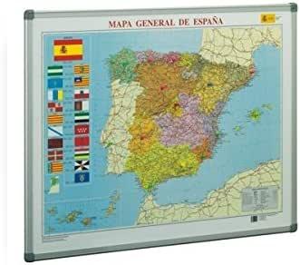 MAPA DE ESPAÑA METALICO CON MARCO DE ALUMINIO 72 X 93 CM.: Amazon.es: Oficina y papelería