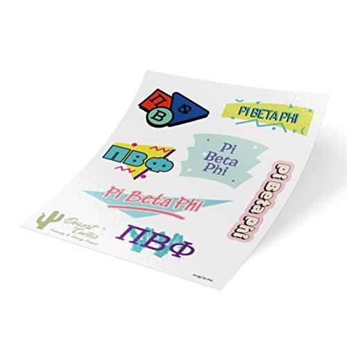 (Pi Beta Phi 90's Themed Sticker Sheet Decal Laptop Water Bottle Car Pi Phi (Full Sheet - 90's))