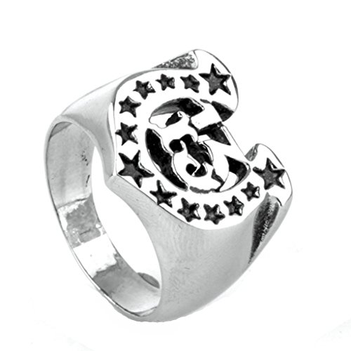 MoAndy Stainless Steel Jewelry Stainless Steel Ring Men Wedding Ring Number 13 Stars Letter U Size 10