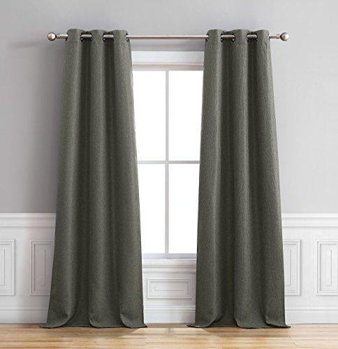 Bella Luna Henley Faux Linen Room Darkening 76 x 84 in. Grommet Curtain Panel Pair, Charcoal ()