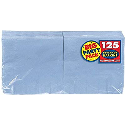 amscan Pastel Blue Beverage Paper Napkin Big Party Pack, 125 Ct.: Toys & Games