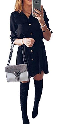 Damen Kurz Kleid Fashion Revers Einstellbar Langarm Minikleid mit Buttons Einfarbig Unregelmäßige Bandage Shirt Kleider Blusenkleider Partykleid Cocktailkleid Schwarz rVz4Mo