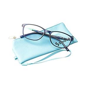 SOOLALA Lightweight TR90 Full Frame Oversized Clear Lens Eyeglasses Reading Glasses, Blue, 2.5D