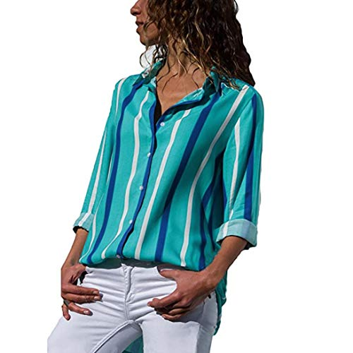 Clearance!Youngh New Womens Blouses V-neck Sexy Color Block Stripe Blouses Loose Long Sleeve Button T Shirts Casual Fashion Blouse Shirt Tops by Youngh Top