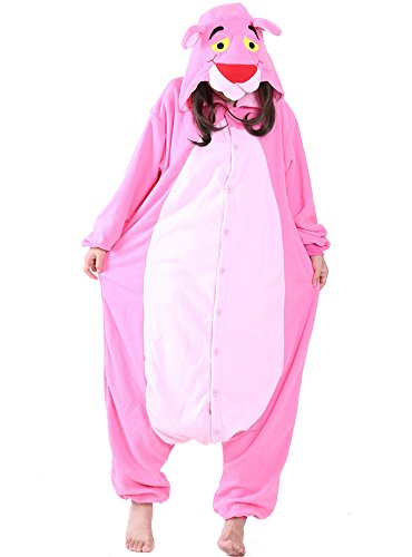 Pink Panther Onesie For Adult and Teenagers. Animal Pajama Costume For Halloween, Dress-up Parties (Large)