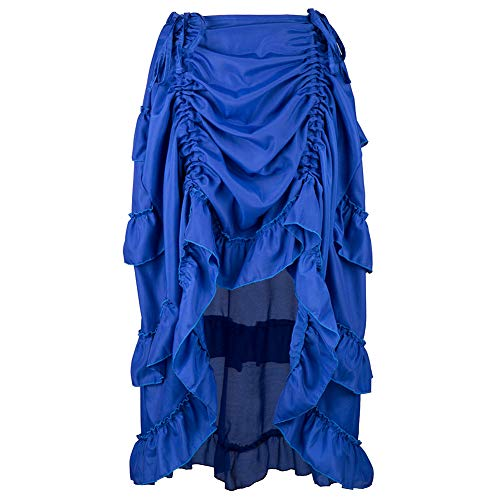 Women Skirt Steampunk Gothic High Low Cyberpunk Bustle Style Skirt (S, Blue)