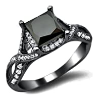 2.30ct Black Princess Cut Diamond Engagement Ring 18k Black Gold