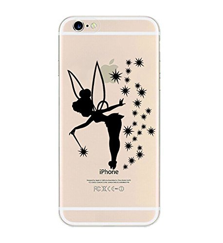 iPhone 6 Case, DECO FAIRY® Protective Case Bumper[Scratch-Resistant] [Perfect Fit] Translucent Silicone Clear Case Gel Cover for Apple iPhone 6 (Cute Fairy iPhone (Tinkerbell Cell Phone Covers)