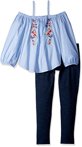 Beautees Girls' Big Two Piece Off The Shoulder & Legging Set, Light Blue, Small