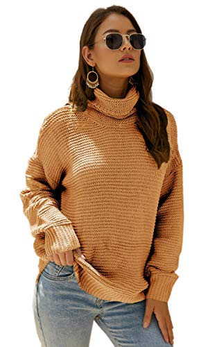 Angashion Women's Casual Long Sleeve Turtleneck Cable Knit Oversized Pullover Sweater Tops Yellow XL ()