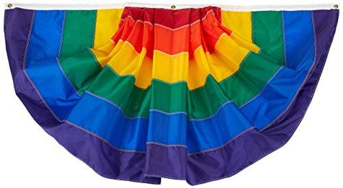 Annin Flagmakers Nyl-Glo Rainbow Fan Sewn Flag, 3 by 6-Feet