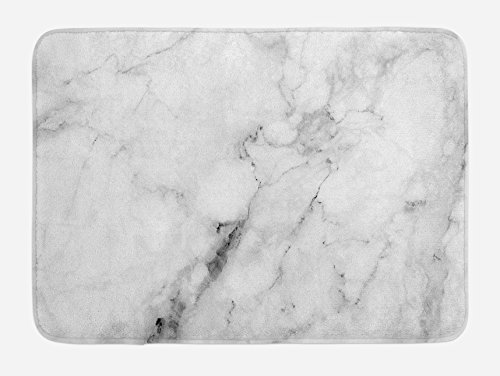 Ambesonne Marble Bath Mat, Marble Surface Pattern with Cracked Lines and Hazy Stripes Display, Plush Bathroom Decor Mat with Non Slip Backing, 29.5