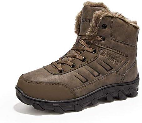 メンズ冬の雪のブーツノンスリップ耐摩耗性ゴム底の高保護防水レースアップ暖かい豪華な内側と外側の綿のブーツ (色 : 褐色)