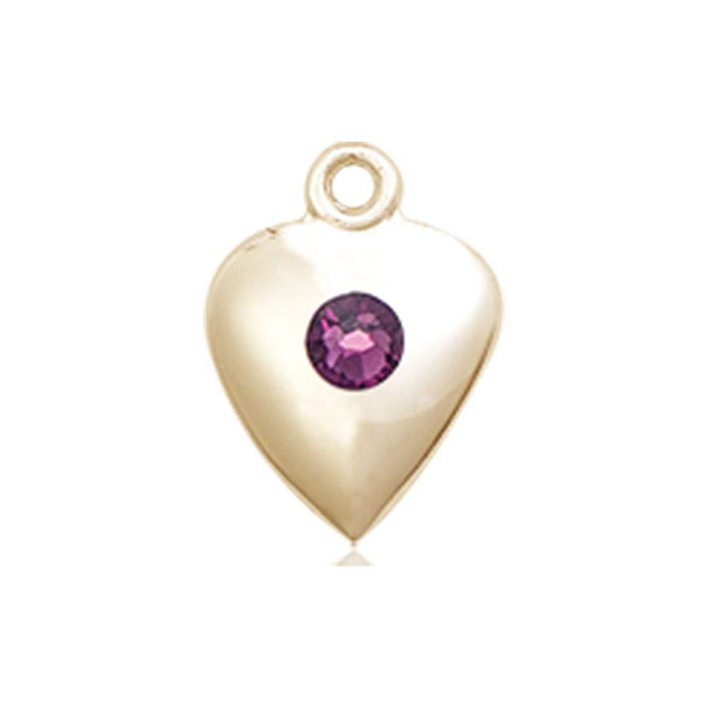 14kt Gold Heart Medal with 3mm Amethyst bead.