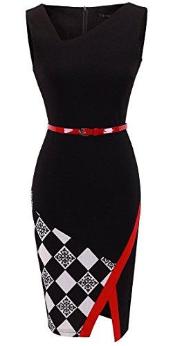 HOMEYEE Women's Elegant Patchwork Sheath Sleeveless Business Dress B290 (XXL, Black)