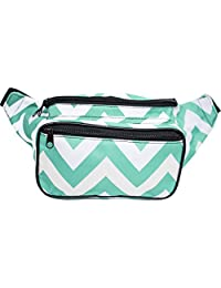 SoJourner Bags Chevron Fanny Pack (Teal and White)