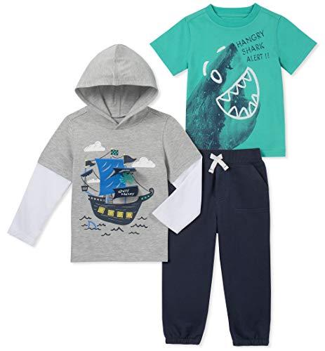 Kids Headquarters Boys' Toddler 3 Pieces Pants Set, Gray/Green/Navy, 4T
