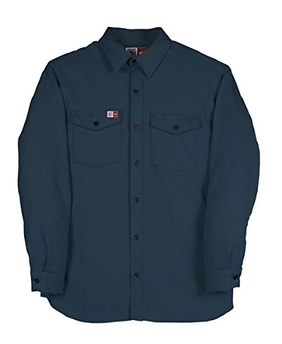 Navy Big Bill 1117US7-NAY-L-R FR Shirt 7 oz Westex Ultrasoft Flashtrap Vented Work Shirt Regular Large