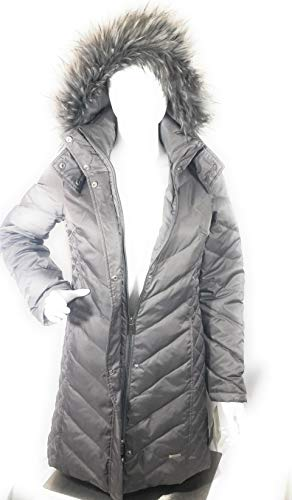 Kenneth Cole Quilted Coat - Kenneth Cole Women's Faux-Fur-Trim Chevron Quilted Down Coat, Light Gray,