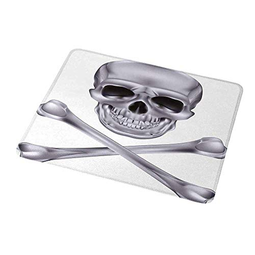 Personalized Custom Gaming Mouse Pad Silver,Vivid Skull and Crossbones Dangerous Scary Dead Skeleton Evil Face Halloween Theme,Dimgray,Personalized Design Non-Slip Rubber Mouse pad 9.8