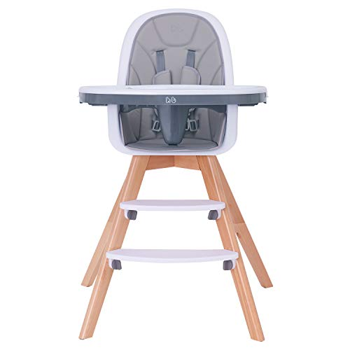 - Baby High Chair, Wooden High Chair with Removable Tray and Adjustable Legs for Baby/Infants/Toddlers