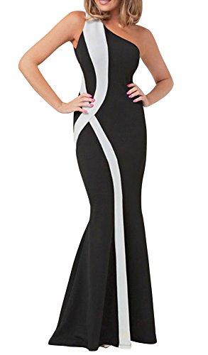 Fecland Women's Elegant Evening One Shoulder Mermaid Floor Gown Dress Black White One size