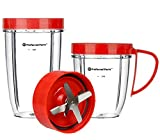 Preferred Parts, NUTRiBULLET Cups & Blade Replacement Parts Set for NutriBullet (5 Piece Set) | Premium NutriBullet Accessories (Red)