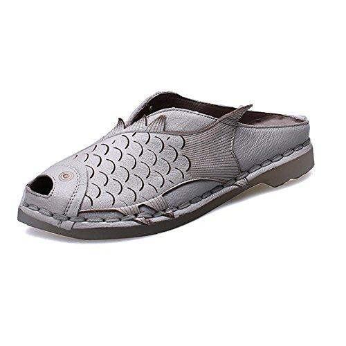 de baño FangYOU1314 de Gris Respirables Cuero Cuero Botas Zapatillas Cuero Confortables Sandalias de de wRPpqwx