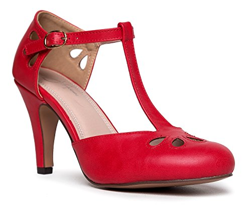 - J. Adams Pepper Mary Janes - Vintage Cutout Low Kitten Heels Retro T Strap Pumps