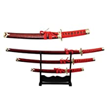 Szco Supplies Red Samurai Sword Set