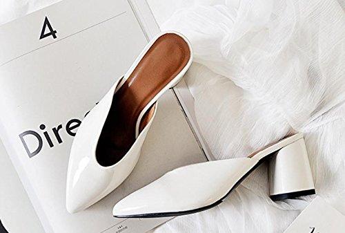AJUNR Moda 38 Da con 7cm alti bianco Donna Alla tacchi pantofole Baotou ruvida appuntito Sandali pqFwIr6p