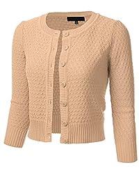 FLORIA suéter Tipo cárdigan de algodón con Cuello Redondo y Mangas 3/4 con Botones para Mujer (S-3X)