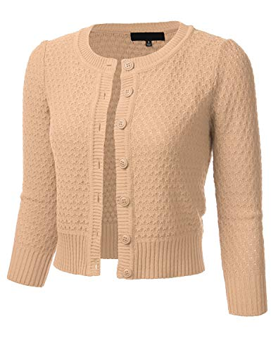 Cotton Nylon Cardigan - FLORIA Women's Button Down 3/4 Sleeve Crew Neck Cotton Knit Cropped Cardigan Sweater TAN L