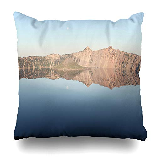 Ahawoso Throw Pillow Cover Square 16x16 West Caldera Crater Lake Park Nature August Water Wall Cascades Cloudcap Overlook East Design Plant Zippered Cushion Case Home Decor Pillowcase August Moon Outdoor Wall