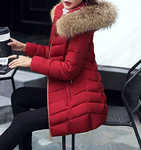 3d7a0d080d82 Chaud Longues Blouson Tempérament Col Rester Manteau Légère Au Manches Doudoune  Grand D hiver En Veste Snone Outwear Bourgogne Fourrure Femmes I4BqxYww0