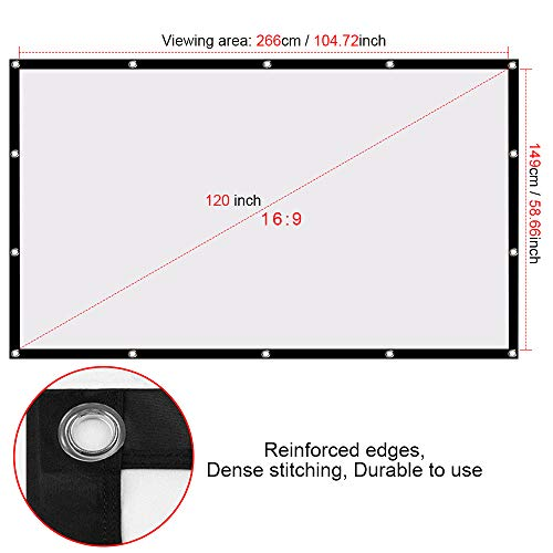 Ylife 120 Inch Projector Screen, 16:9 HD 4K No Crease Portable Video Projection Movie Screen Grommets for Home Theater Outdoor (120 Inch)