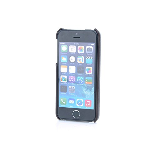 MadCase® Apple iPhone élégant se/Apple iPhone Apple iPhone 5/5S Premium en cuir PU Coque arrière en Retail Pack – Noir