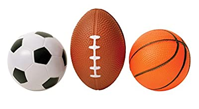 3 Pack Mini Sports Stress Balls Set - Pro Shop Soccer Basketball Football - Multi Use Reliever Relax Ball for Men Women at Home Office, Indoor Outdoor Childrens Play Kids Toys, by Perfect Life Ideas