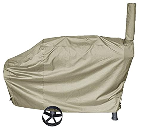 iCOVER 66 Inch Heavy-Duty water proof patio outdoor Oxford Khaki offset BBQ Barbecue Smoker Cover G22610 for Brinkmann Char-broil (Brinkmann Smoker Pan)