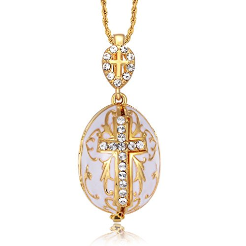 - TF Charms Virgin Mary Christ Jesus Icon Cross Egg Pendant with Gabriel Archangel Inside 18 Inches (White)